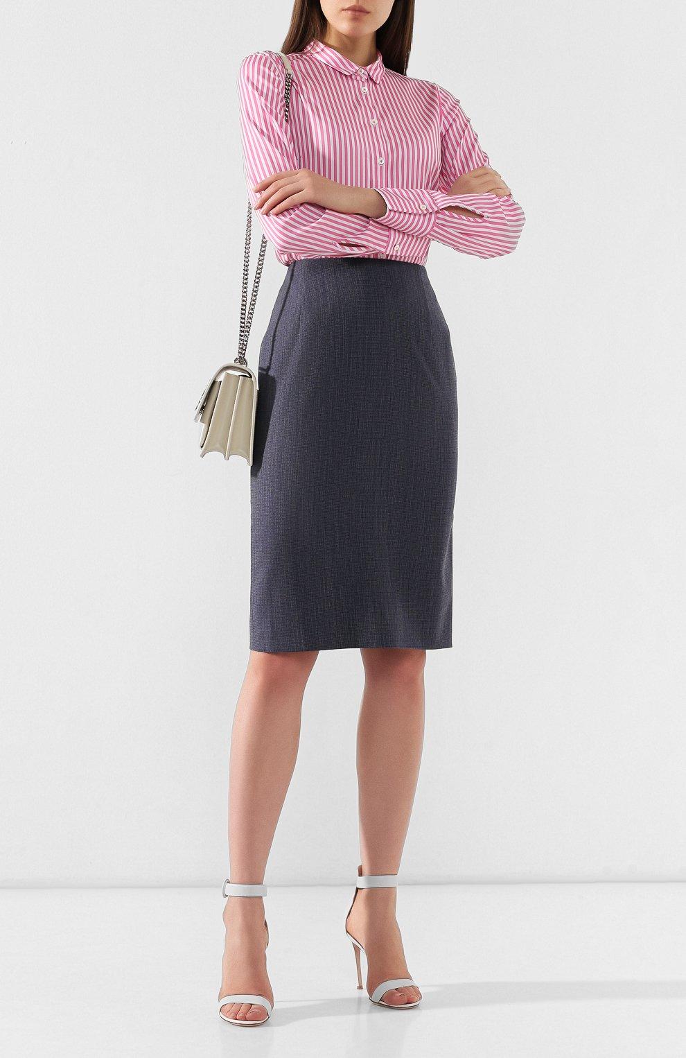 Женская шерстяная юбка BOSS голубого цвета, арт. 50411324 | Фото 2