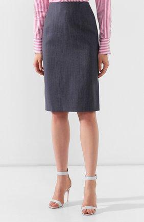 Женская шерстяная юбка BOSS голубого цвета, арт. 50411324 | Фото 3
