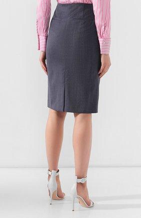 Женская шерстяная юбка BOSS голубого цвета, арт. 50411324 | Фото 4