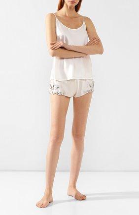 Женские шелковые шорты LA PERLA бежевого цвета, арт. 0019228 | Фото 2