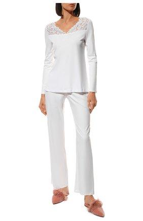 Женская хлопковая пижама HANRO белого цвета, арт. 077932 | Фото 2