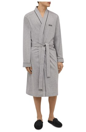 Мужской хлопковый халат BOSS серого цвета, арт. 50229070 | Фото 2