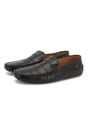Мужские мокасины из кожи крокодила TOD'S черного цвета, арт. XRM0E008891050B999 | Фото 1
