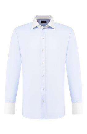 Мужская хлопковая сорочка TOM FORD голубого цвета, арт. 4FT192/94SWAX | Фото 1