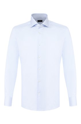 Мужская хлопковая сорочка ERMENEGILDO ZEGNA голубого цвета, арт. 501262/9MS0BA | Фото 1