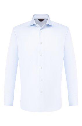 Мужская хлопковая сорочка ZEGNA COUTURE голубого цвета, арт. 502019/9NS0RI | Фото 1