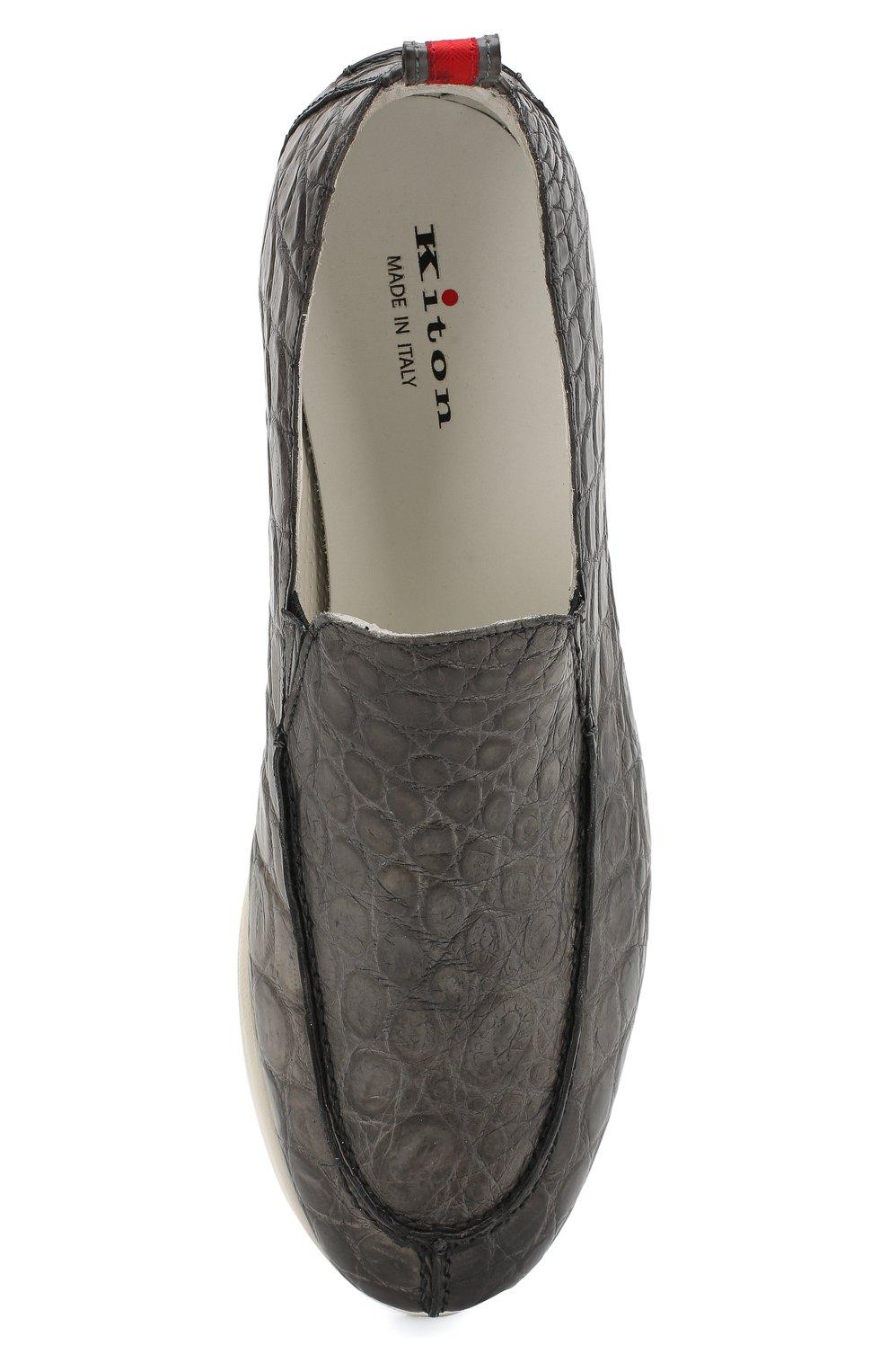 Мужские лоферы из кожи крокодила KITON серого цвета, арт. USSPLUMN00102/CNIL | Фото 5