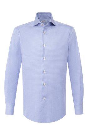 Мужская хлопковая сорочка KITON синего цвета, арт. UCIH0693016 | Фото 1