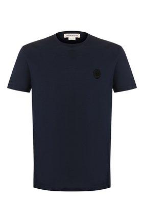 Мужская хлопковая футболка ALEXANDER MCQUEEN темно-синего цвета, арт. 576671/QNX01 | Фото 1
