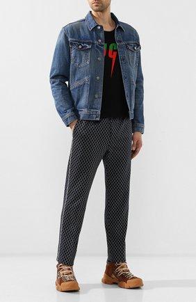 Мужские кожаные кроссовки flashtrek gg  GUCCI темно-бежевого цвета, арт. 521680/0P310 | Фото 2