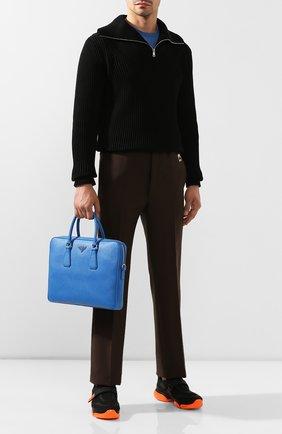 Кожаный портфель Prada синий | Фото №2