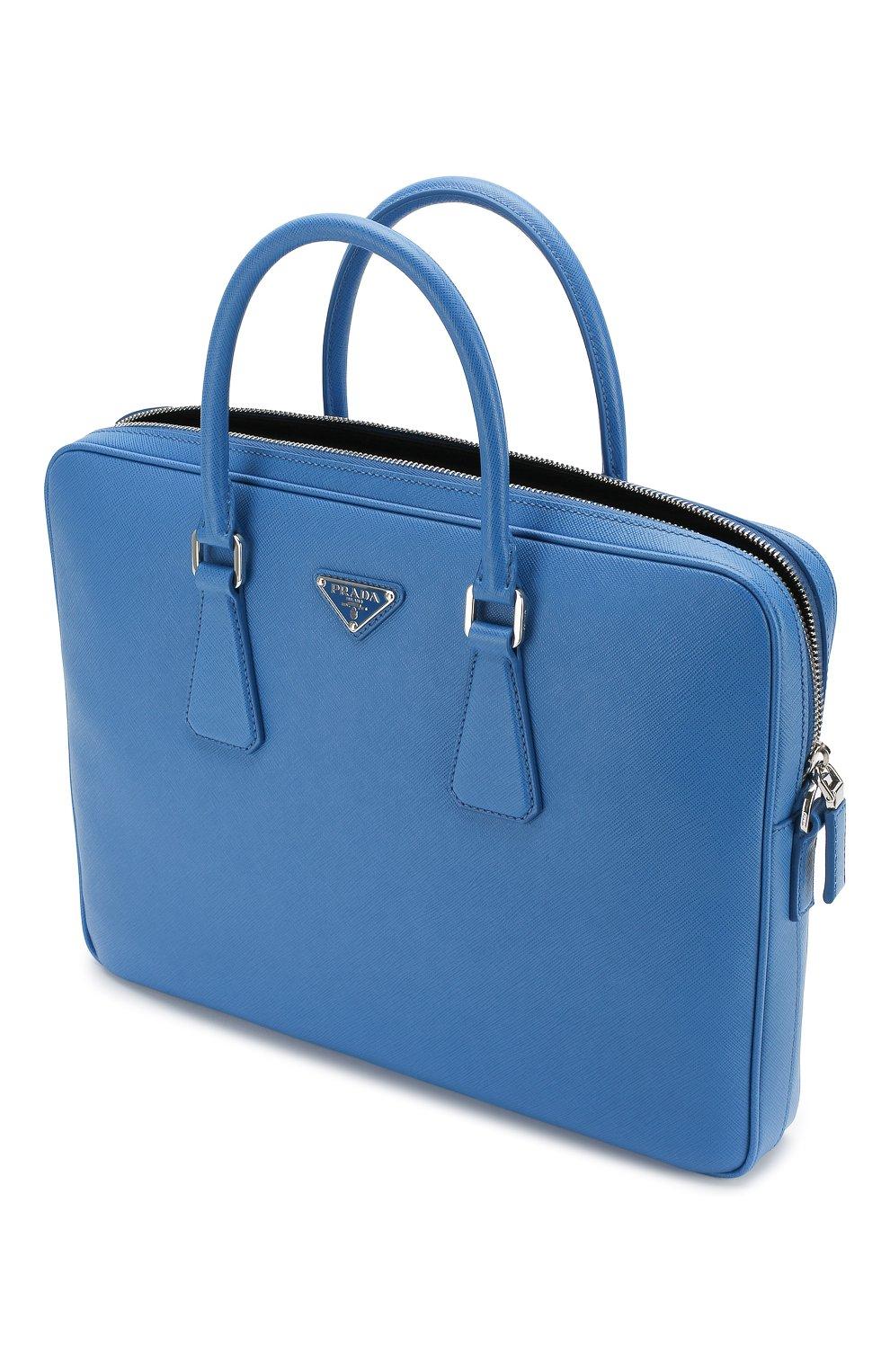 Кожаный портфель Prada синий | Фото №4