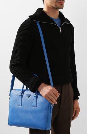 Кожаный портфель Prada синий | Фото №5