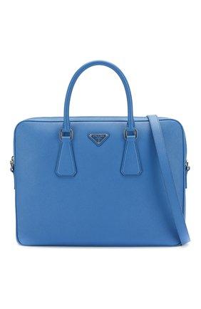 Кожаный портфель Prada синий | Фото №6