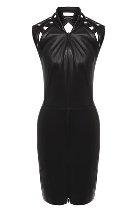Женское кожаное платье JITROIS черного цвета, арт. DRESS INTRIGUE BR0DEE AGNEAU STRETCH | Фото 1