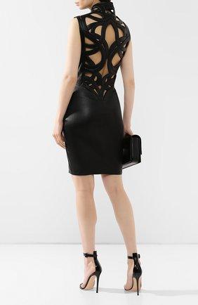 Женское кожаное платье JITROIS черного цвета, арт. DRESS INTRIGUE BR0DEE AGNEAU STRETCH | Фото 2