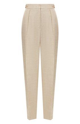 Женские брюки из смеси вискозы и льна STELLA MCCARTNEY бежевого цвета, арт. 565361/SMB61 | Фото 1 (Длина (брюки, джинсы): Стандартные; Статус проверки: Проверена категория; Материал внешний: Вискоза; Женское Кросс-КТ: Брюки-одежда; Случай: Формальный)
