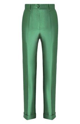 Шелковые брюки Dolce & Gabbana зеленые   Фото №1