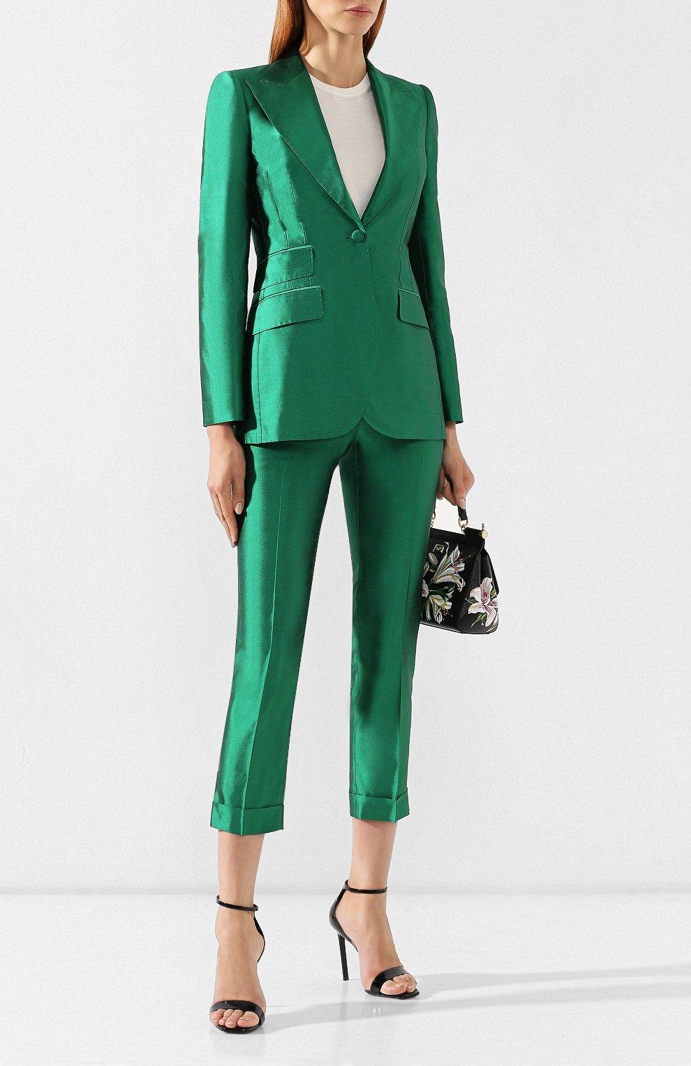 Шелковые брюки Dolce & Gabbana зеленые   Фото №2