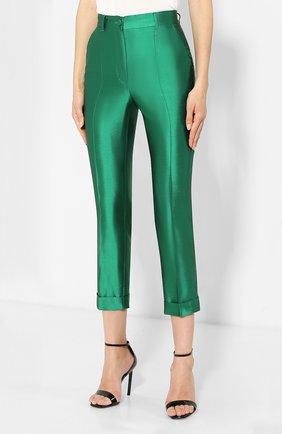Шелковые брюки Dolce & Gabbana зеленые   Фото №3