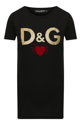 Женская хлопковая футболка DOLCE & GABBANA черного цвета, арт. F8H32T/G7TLB | Фото 1