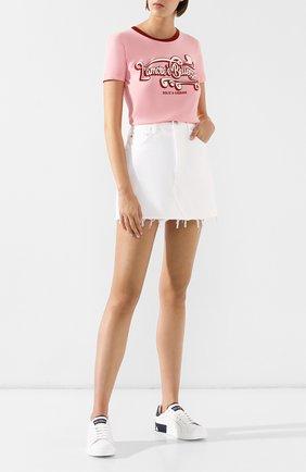 Женская хлопковая футболка DOLCE & GABBANA розового цвета, арт. F8H32T/HH74H | Фото 2