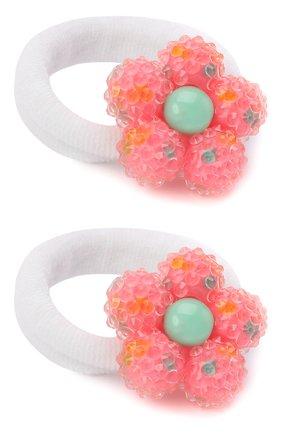 Детская комплект из двух резинок flower JUNEFEE кораллового цвета, арт. 5503   Фото 2