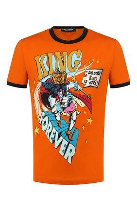 Мужская хлопковая футболка DOLCE & GABBANA оранжевого цвета, арт. G8JX7T/HH79V | Фото 1