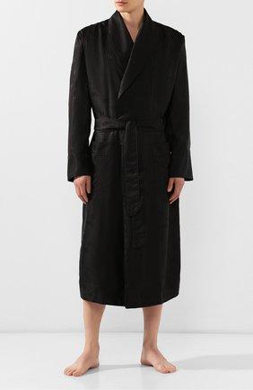 Мужской шелковый халат DOLCE & GABBANA черного цвета, арт. G0936T/FJ1GM | Фото 2