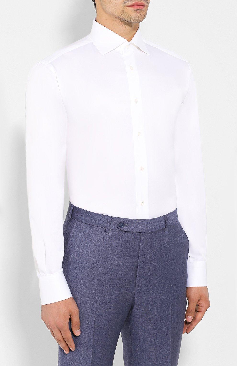 Мужская хлопковая сорочка BRIONI белого цвета, арт. RCLU4I/PZ042   Фото 3