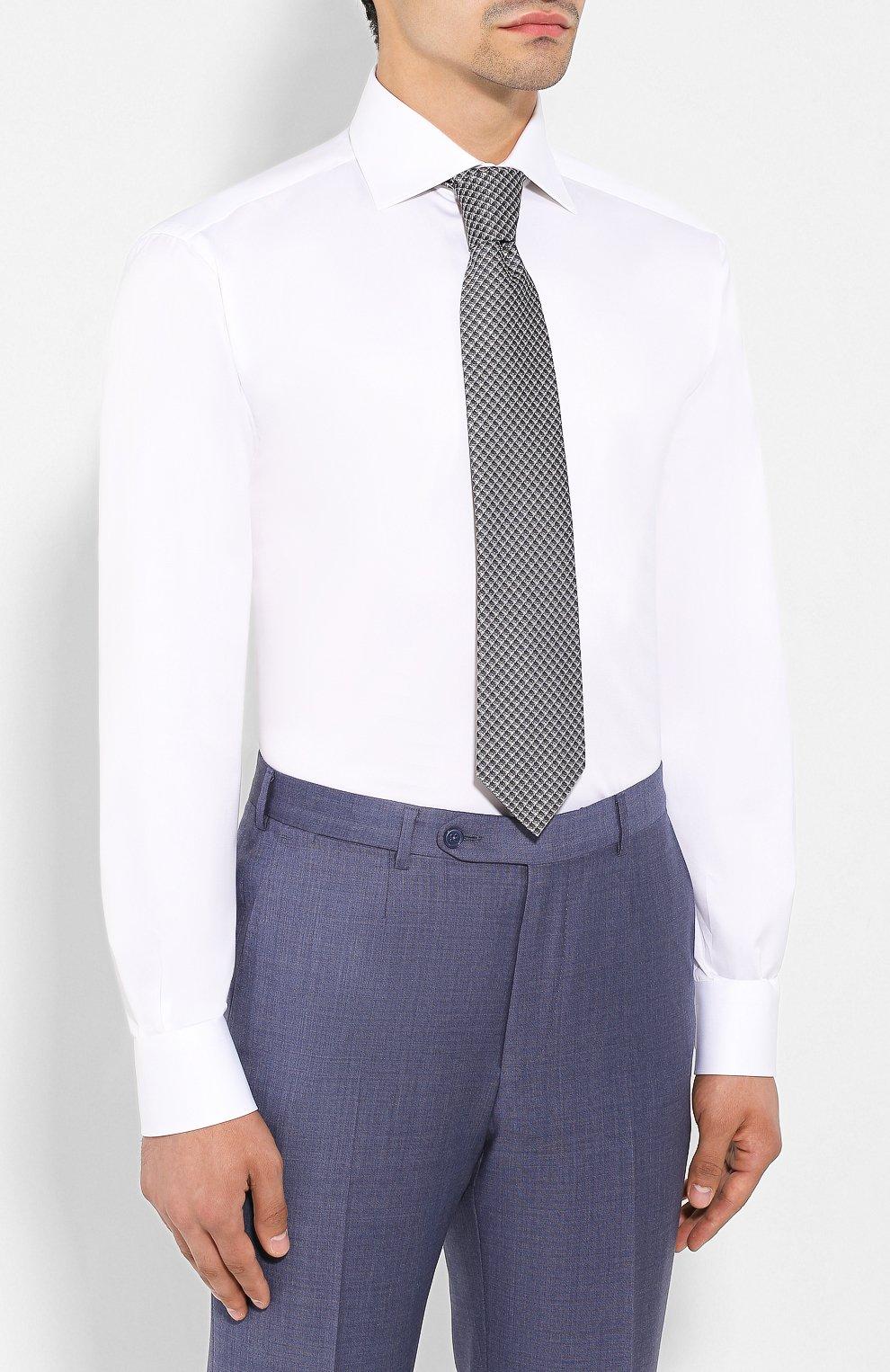 Мужская хлопковая сорочка BRIONI белого цвета, арт. RCLU4I/PZ042   Фото 4