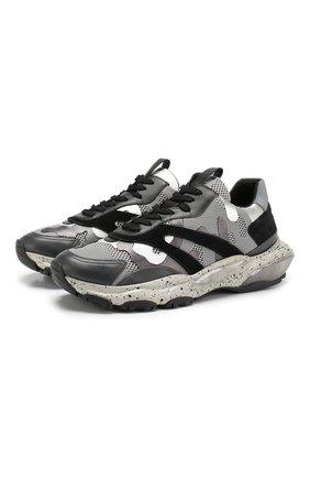 Мужские комбинированные кроссовки valentino garavani bounce VALENTINO серебряного цвета, арт. SY2S0B05/SJH | Фото 1