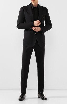 Мужской пиджак из смеси шерсти и льна DOLCE & GABBANA черного цвета, арт. G2NF1Z/FU307   Фото 2