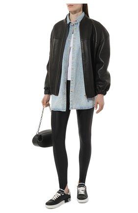 Женские кожаные кеды portofino DOLCE & GABBANA черного цвета, арт. CK1587/AH527 | Фото 2