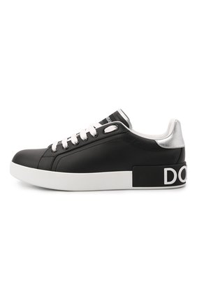 Женские кожаные кеды portofino DOLCE & GABBANA черного цвета, арт. CK1587/AH527   Фото 2 (Подошва: Платформа; Материал внутренний: Натуральная кожа; Статус проверки: Проверена категория)