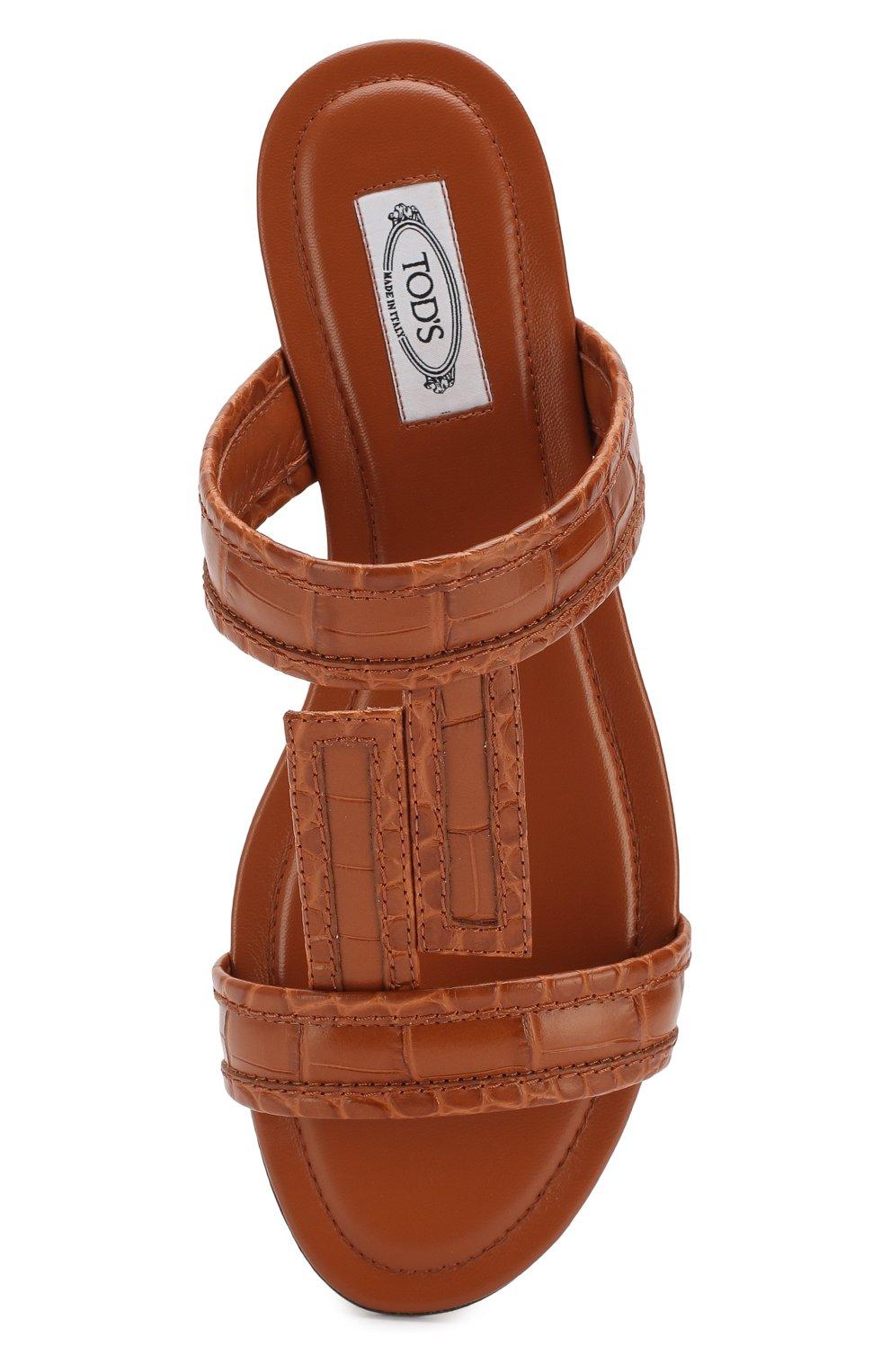 Кожаные шлепанцы Tod's коричневые   Фото №5