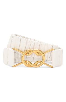 Кожаный ремень Bottega Veneta белый | Фото №1