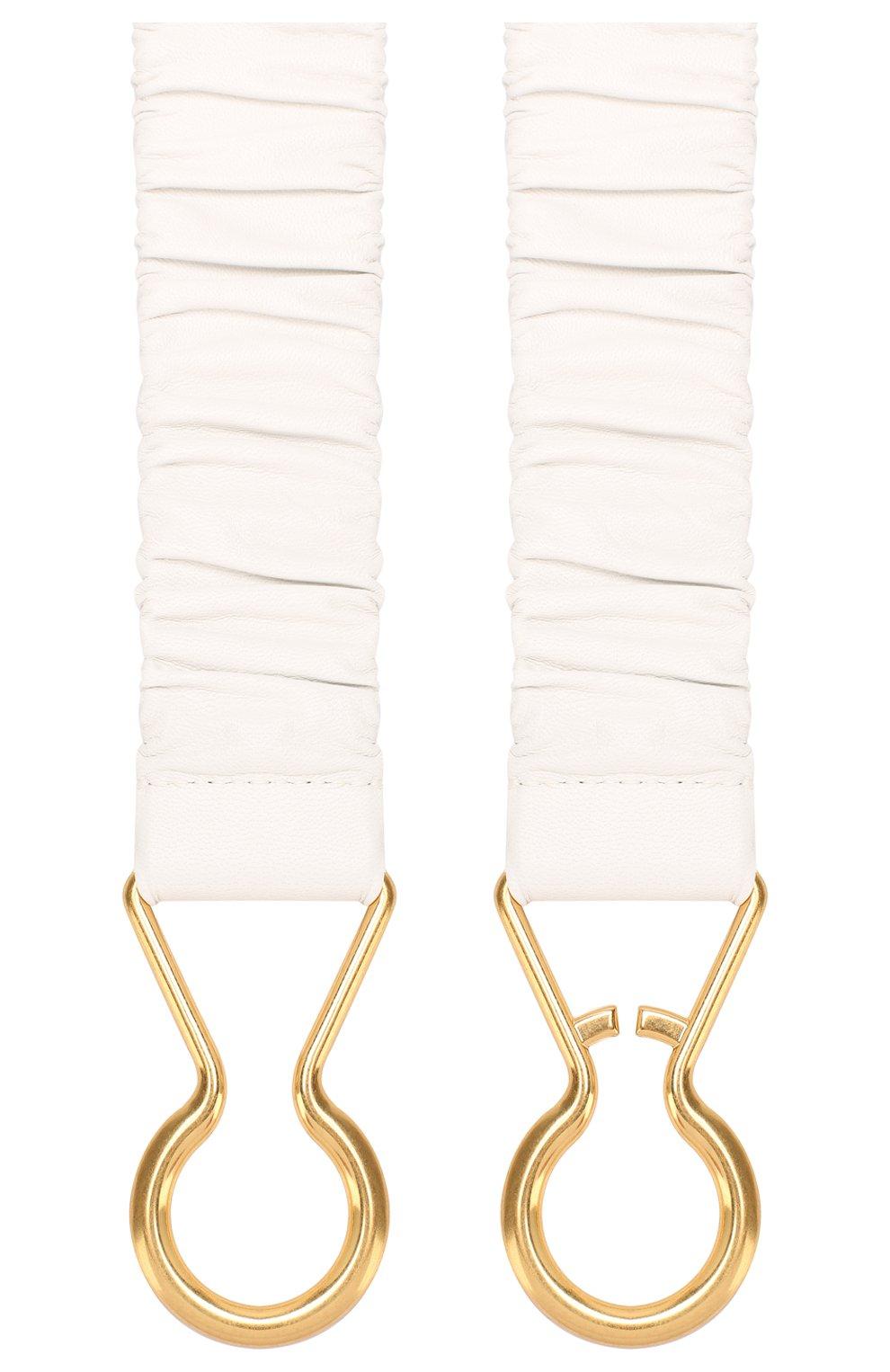 Кожаный ремень Bottega Veneta белый | Фото №2