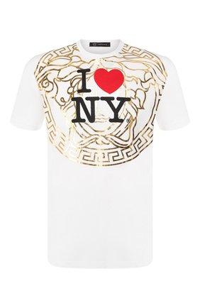 Мужская хлопковая футболка VERSACE белого цвета, арт. A84109/A201952 | Фото 1