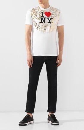 Мужская хлопковая футболка VERSACE белого цвета, арт. A84109/A201952 | Фото 2