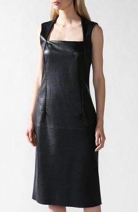 Кожаное платье Bottega Veneta черное   Фото №2