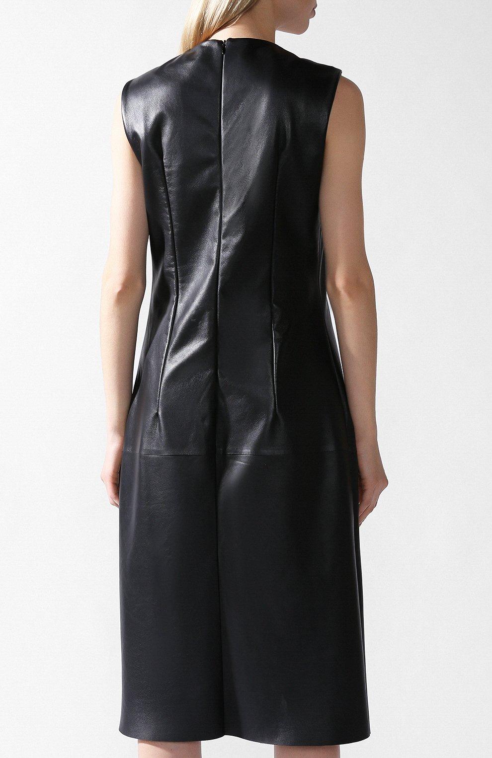 Кожаное платье Bottega Veneta черное   Фото №3
