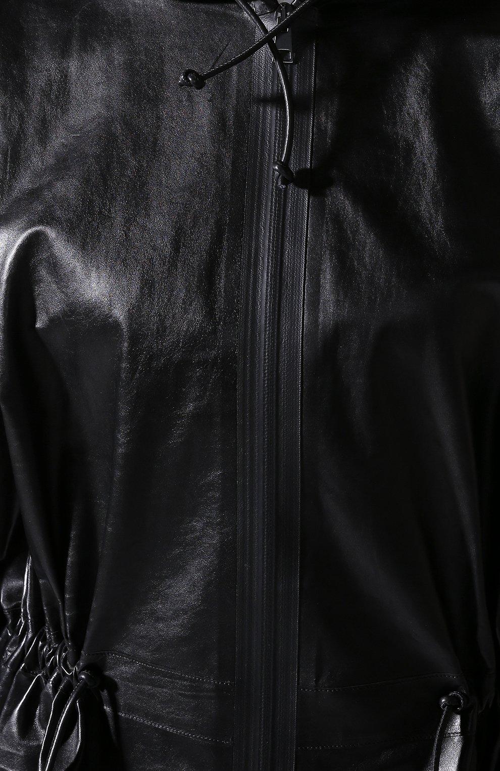 Кожаная куртка Bottega Veneta черная | Фото №4