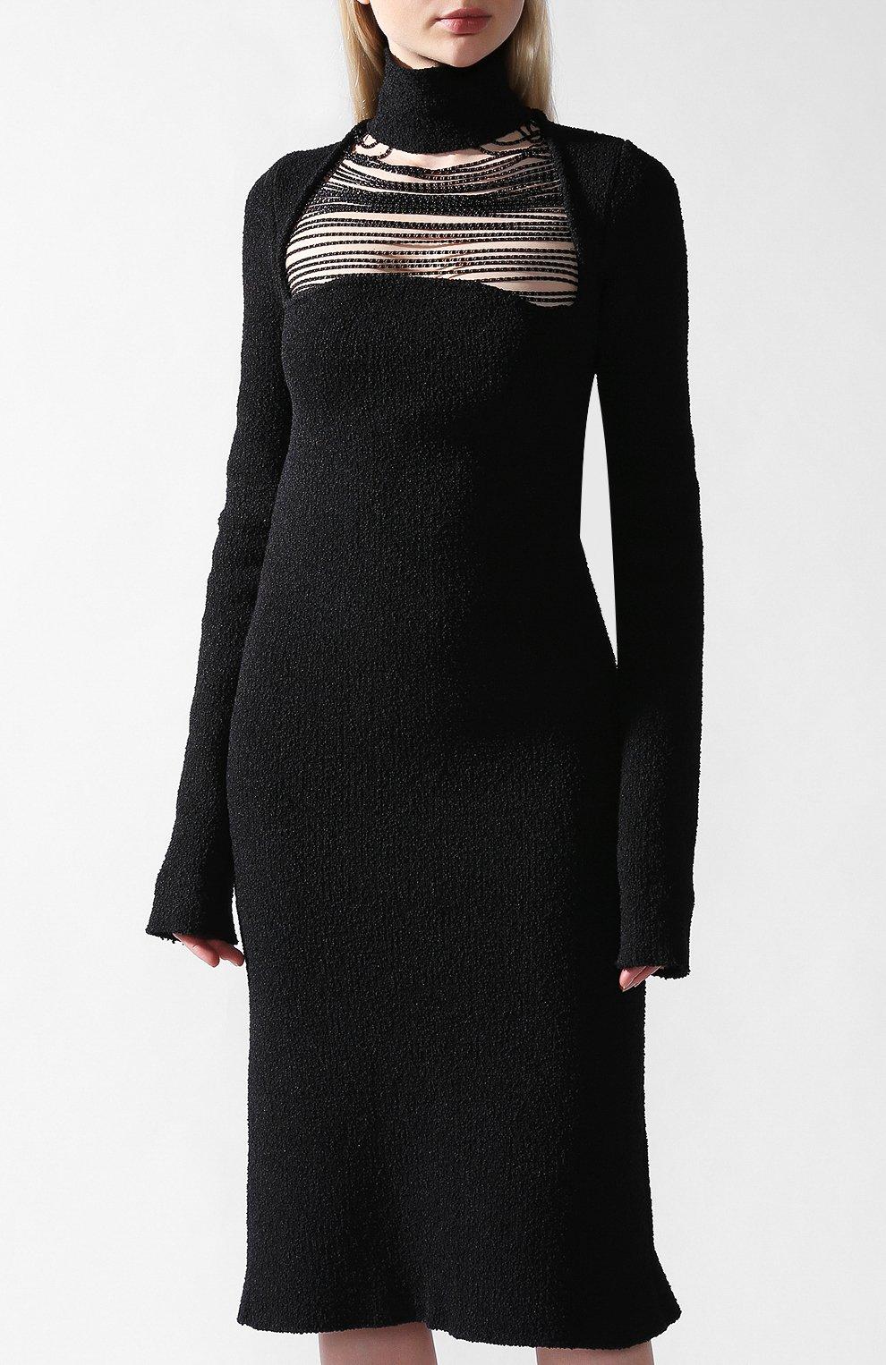 Платье Bottega Veneta черное | Фото №2