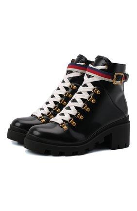 Женские кожаные ботинки trip GUCCI черного цвета, арт. 481156/DKS30 | Фото 1