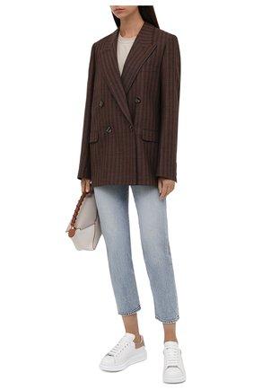 Женские кожаные кеды ALEXANDER MCQUEEN бронзового цвета, арт. 553770/WHFBU | Фото 2