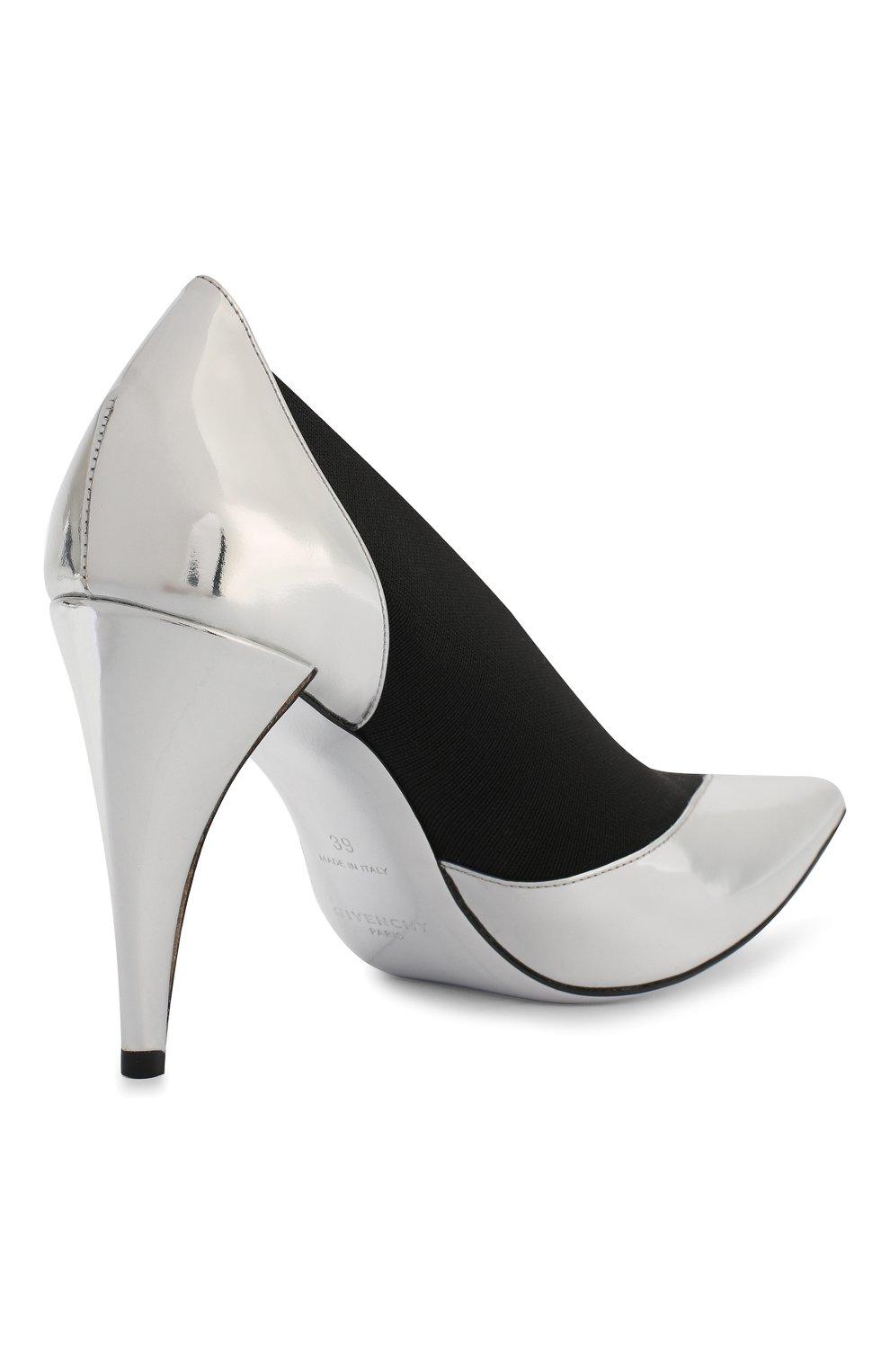 Женские комбинированные туфли GIVENCHY серебряного цвета, арт. BE400YE0C9 | Фото 4