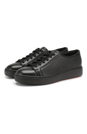 Женские кожаные кеды SANTONI черного цвета, арт. WBCE60442NEARAYLN01 | Фото 1