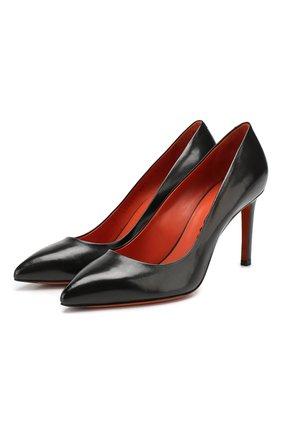 Женская кожаные туфли SANTONI черного цвета, арт. WDNT57627HI2RSZAN01 | Фото 1