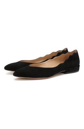 Женские замшевые балетки laurena CHLOÉ черного цвета, арт. CHC19A20801 | Фото 1